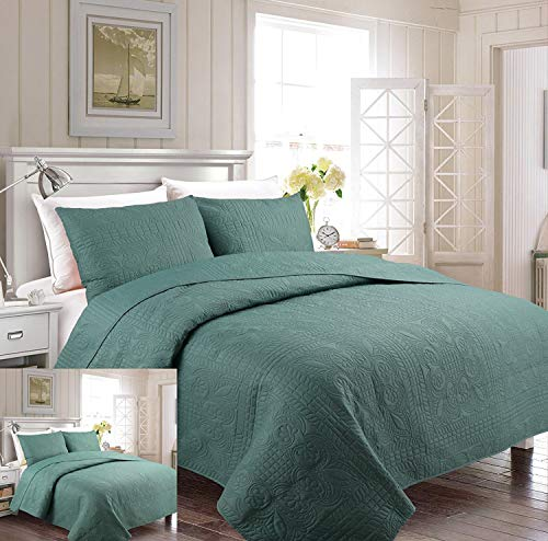Fancy Collection 3pc Luxury Bedspread Coverlet Embossed Bed Cover Solid Spa Blue Over Size New Full/Queen 100\
