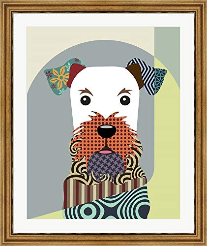 Airedale Terrier Dog by Lanre Adefioye Framed Art Print Wall Picture, Wide Gold Frame, 32 x 38 inches (Gold Airedale Dog)