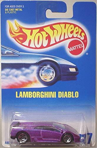 Hot Wheels Blue Card - Hot Wheels Lamborghini Diablo #22 Purple with 5 Dot Wheels on Blue and White Card