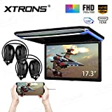 XTRONS 17.3 Inch 16:9 Ultra-thin FHD Digital TFT Screen 1080P Video Car Overhead Player Roof Mounted Monitor HDMI Port 19201080 Full High Definition IR Headphones