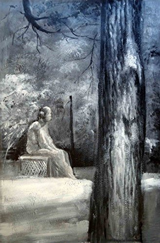 100% Hand Painted Oil Painting on Canvas Wall Art, Bachelor's Grove Cemetery Ghost Paranormal Haunted Chicago UFO Art Oil Painting by Wonderful Gift