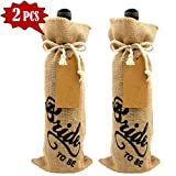Tragoods 2 PCS Bride to be Wine Bottle Cover, Vintage Wedding Gift Wine Bottle Cover, Engagement Party Decorations Linen Burlap Wine Gift Bags, Red wine Bottle Bags, Champagne bags (Bride To Be)