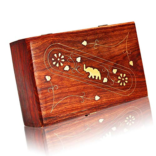 Great Birthday Gift Ideas Handmade Decorative Wooden Jewelry Box with Free Lock & Key Jewelry Organizer Keepsake Box Treasure Chest Trinket Holder Lock Box Watch Box 8 x 5 Inch Her (With Lock Small Box Trinket)