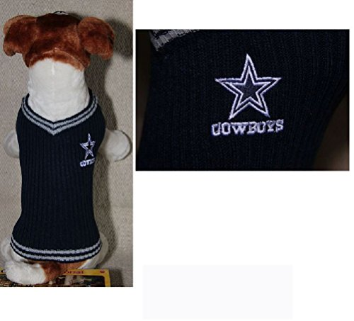 Dallas Cowboys NFL Dog Sweater Vest Pet Embroidered Football Sizes Xs - L
