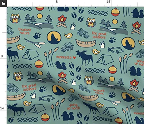 Spoonflower Wildlife Fabric - Outdoors Camping Minnesota National Park Nature National Parks Recreation by Diannemehta Printed on Fleece Fabric by The Yard