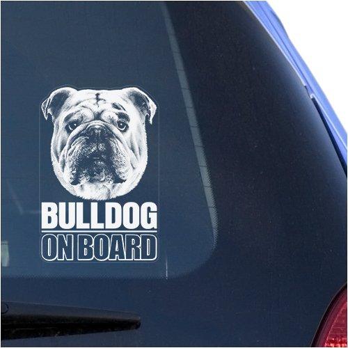 Bulldog Clear Vinyl Decal Sticker Portrait for Window, English Bull Dog Sign Art - Decal Bulldog Vinyl