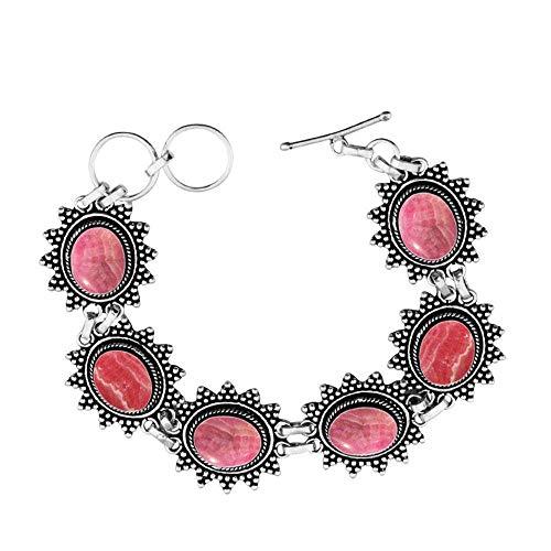 Genuine Rhodochrosite 925 Sterling Silver Overlay Handmade Fashion Bracelet Jewelry ()