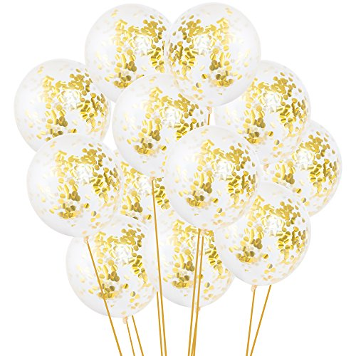 Gold Confetti Balloons - Large 18 Pack Of 12 Confetti Balloons Filled With Gold Foil Confetti - 12 Gold Balloons For Party Or Birthdays, Bachelorette party & Baby Shower Decorations