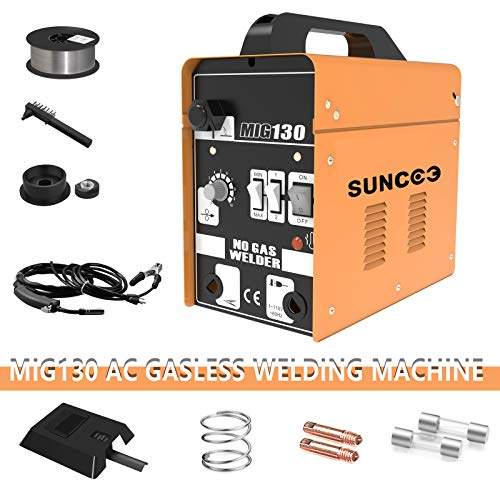 SUNCOO 130 MIG Welder Flux Core Wire Automatic Feed Gasless Portable Welding Machine 110 Volt with Free Mask and Spool Gun Yellow (Welder Mig Chicago Electric)