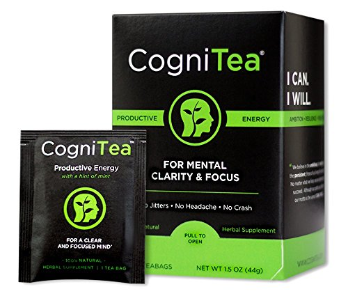 CogniTea Productive Energy Tea for Mental Clarity and Focus made with L-Theanine, 20 Count