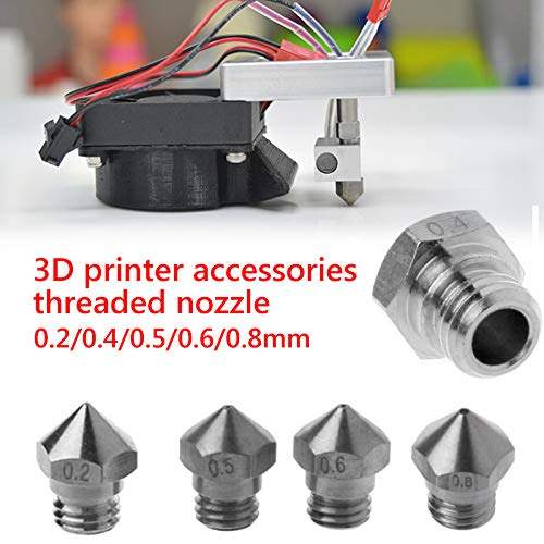 FlashForge Cocoon Create PowerSpec Wanhao Dupicator Haihuic 3D Printer M7 Thread MK10 Nozzles 0.4MM for 1.75MM Filament Monoprice Makerbot V2 Dremel
