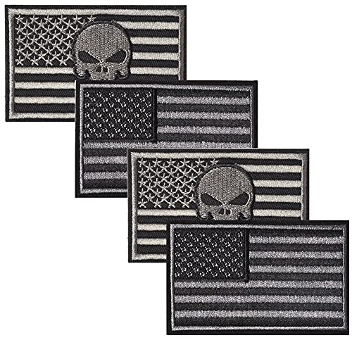 Harsgs USA Flag Patches Bundle, Hook & Loop Tactical Morale Patch Full Embroidery Military Patch for Caps Bags Vests Military Uniforms,Pack of 4, Grey