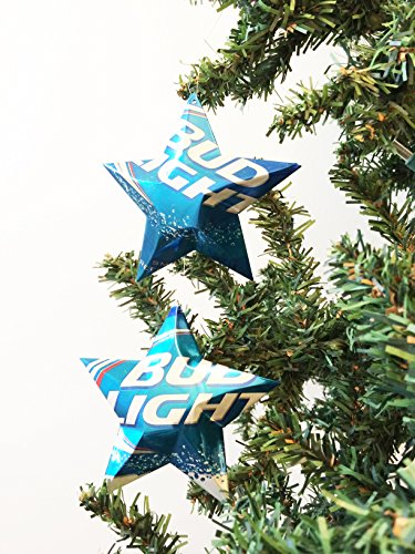 Bud Light Beer Can Stars, Recycled Aluminum Beer Can Stars, Upcycled Can, Christmas (Tiny Beer Cans)