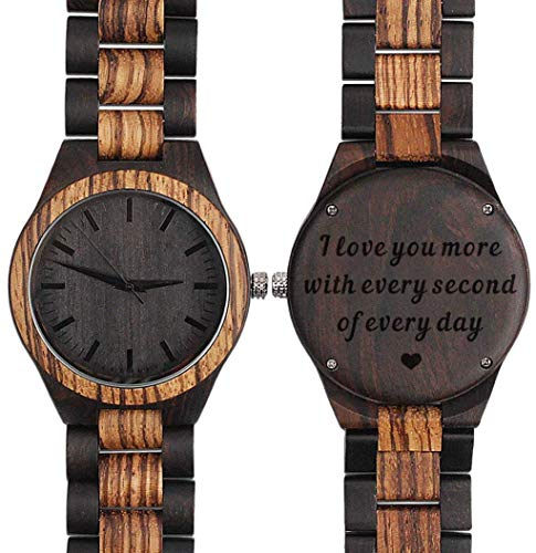 Engraved Wood Watches for Men Leather Strap - I Love You More Every Second - Personalized Birthday Gifts for Men Him Husband Gift - Zebra Black