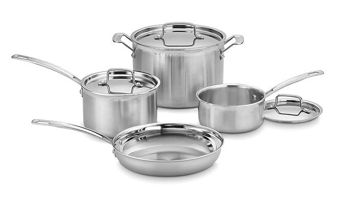 Cuisinart MCP22-24N MultiClad Pro - Sartén abierta (acero inoxidable) Multiclad 7 piezas plata: Amazon.es: Hogar