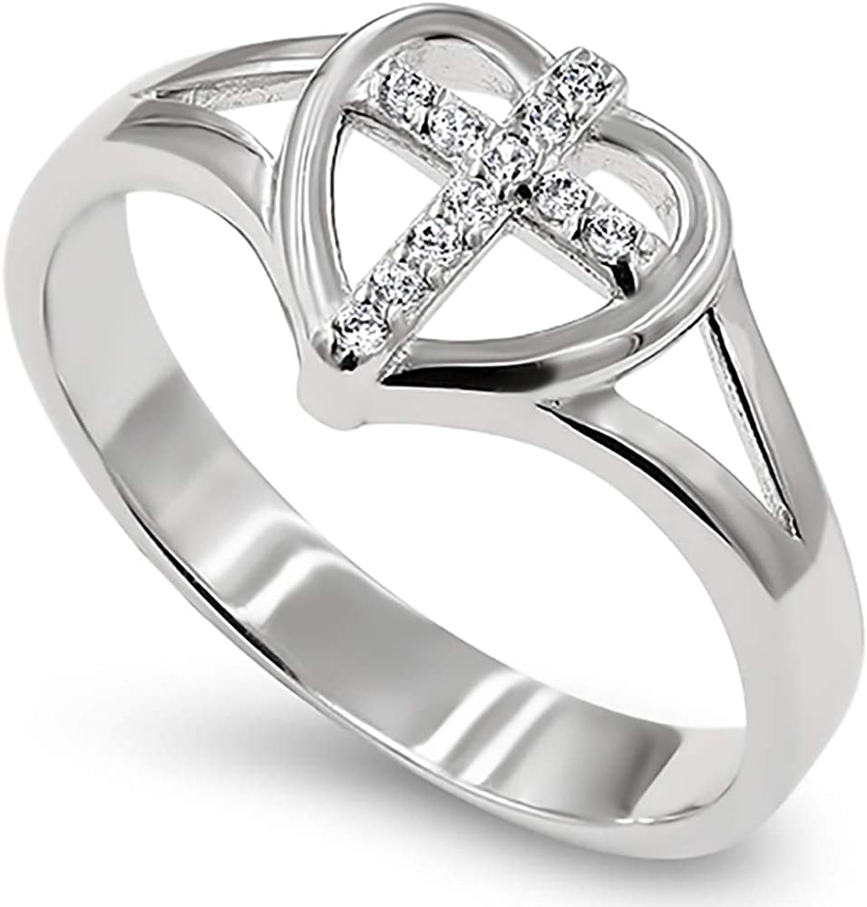 """925 Heart Sheild CZ Cross Silver Ring,""""ALL THINGS THROUGH CHRIST MY STRENGTH - PHIL. 4:13"""" Christian Bible Verse Scripture Jewelry"""