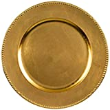 Elegant Round Metallic Plastic Charger Party Table Reusable Serveware and Dishware, Gold, 14''.
