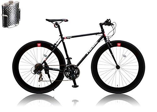 CANOVER(カノーバー)クロスバイク 700C シマノ21段変速 CAC-024 (HEBE) ステンレスボトル&ケージセット ディープリム クロモリフレーム ラピッドファイヤー フロントLEDライト付 [メーカー保証1年] B01A554AZK ブラック ブラック