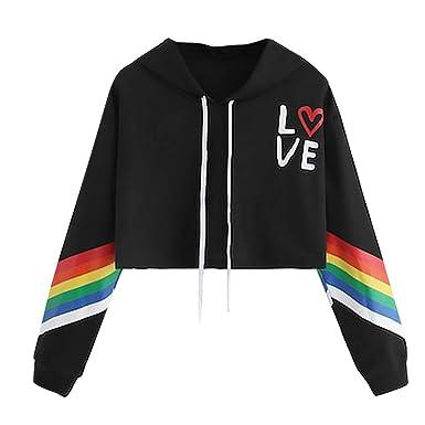 Women/'s Long Sleeve Hoodie Pullover Rainbow Letter Print Sweatshirt Blouse Tops