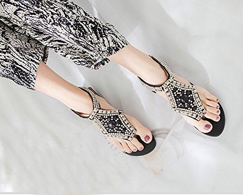 Mujer Sandalias de verano Bohemia Diamantes De Imitación Zapatos De Playa Clip Toe Chancletas Negro