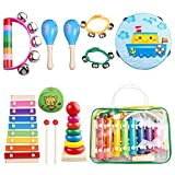 Kids Musical Instruments - Childom Musical Instruments Wood Xylophone for Kids Children, Child Wooden Music Shakers Percussion Instruments Tambourine Birthday Gifts Present with Carrying Bag