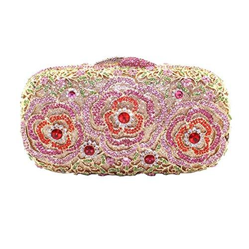 Bolso Del Bolso De Tarde Del Diamante De La Manera De Las Mujeres Pink