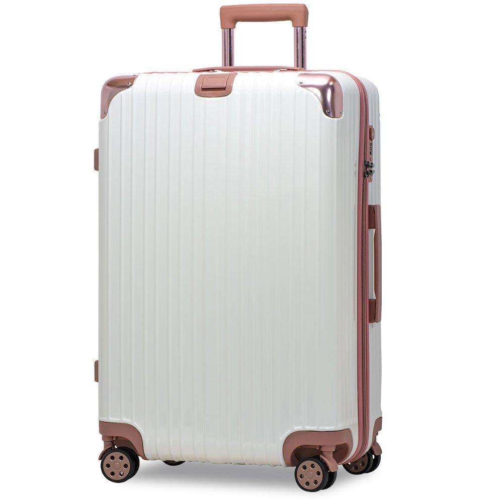 スーツケース アルミフレーム 機内持込~大型 軽量 超消音 ダブルキャスター 8輪 TSA キャリーケース キャリーバッグ B079BDSBNC M(3~5泊)-58L-ファスナー ホワイト/ローズ/ ホワイト/ローズ/ M(3~5泊)-58L-ファスナー