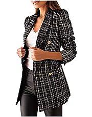 Briskorry Geruite blazer voor dames, met zakken en knopen, lange mouwen, blazer, mantel, hemdjack, blazer, geruit, elegant, werk, pak, jas, vrije tijd, business jas