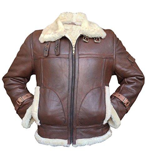 - Men's Aviator RAF B3 Sheepskin Fur Shearling Bomber Flying Black & Brown Leather Jacket