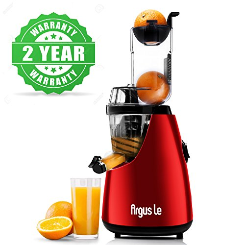 Argus Le Masticating Juicer, Whole Slow Juicer, 3''inches(75MM) Wide Feed Chute, Easy Cleaning Auger, Energy Saving 150W DC Motor, Fruit and Vegetable Juice Extractor with Two Filters and Recipe Book by Argus Le