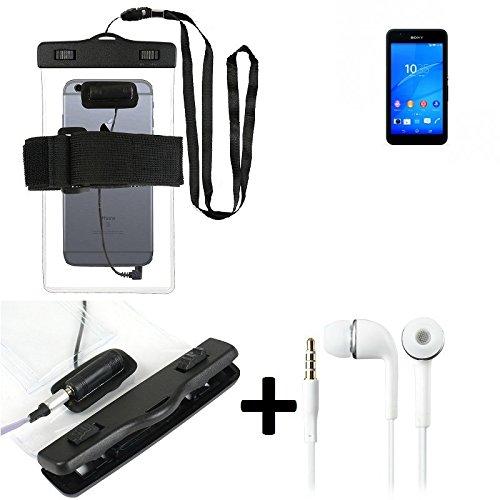 Estuche estanco al agua con entrada de auriculares para Sony Xperia E4G + auricular incluido, transparente | Trotar bolsa de playa al aire libre caja brazalete del teléfono caso de cáscara bajo playa