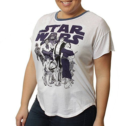 Star Wars Cast of Characters Women's Plus Ringer Shirt Tail Tee (1X) (Princess Leia Disney Princess)