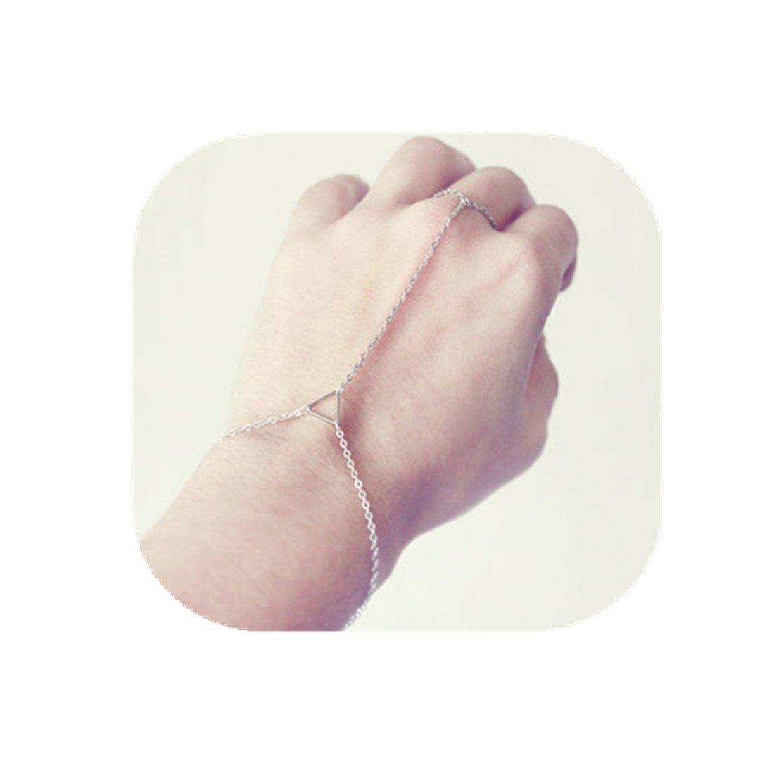 Simple Bracelet Sterling Silver CHENCAN01 Dainty Triangle Bracelet Best friend Gift Geometric Bracelet Minimalist Bracelet Triangle Charm