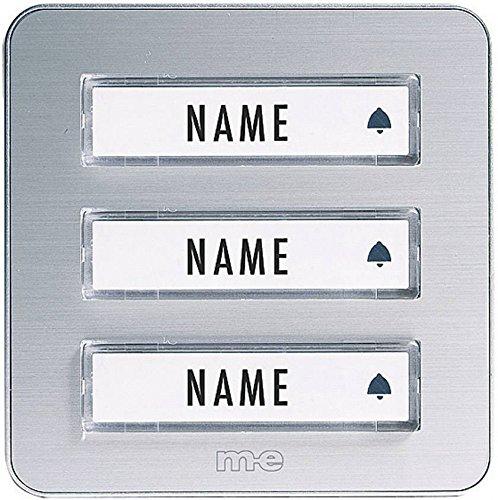 m-e modern-electronics KTA-3 A/S Klingelplatte mit Namensschild 3fach Silber 12 V/1A 40653 324119