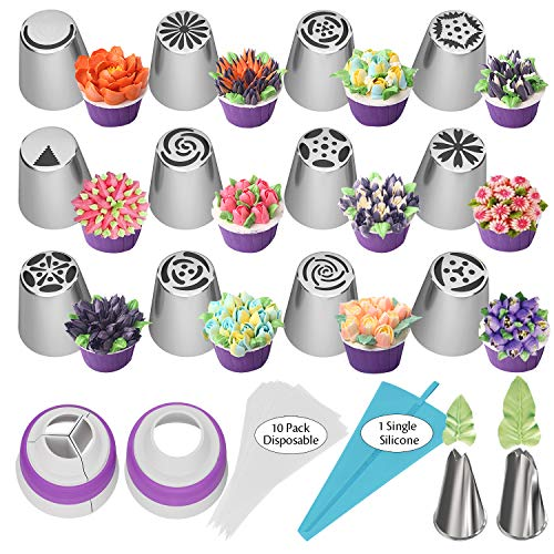 Russian Piping Tips 27pcs Baking Supplies Set Cake Decorating Tips for Cupcake Cookies Birthday Party, 12 Icing Tips 2 Leaf Piping Tips 2 Couplers 10 Pastry Baking Bags (Baking Supply)