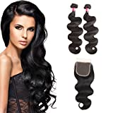 West Kiss Hair Brazilian Body Wave Virgin Remy Human Hair Extensions 2 Bundles with 4×4 Free Part Lace Closure Nature Color 100% Unprocessed (12 12 & 8 inch) For Sale
