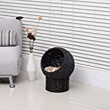 "Pawhut 21"" Hooded Rattan Wicker Elevated Cat Bed - Black/Beige"