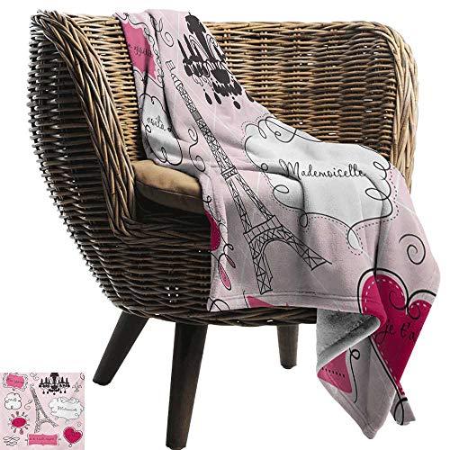 BelleAckerman Flannel Fleece Blanket,Teen Room,Doodle Frames in French Style Rococo Baroque Lantern Mademoiselle Print,Hot Pink and Black,Throw Lightweight Cozy Plush Microfiber Solid Blanket 50