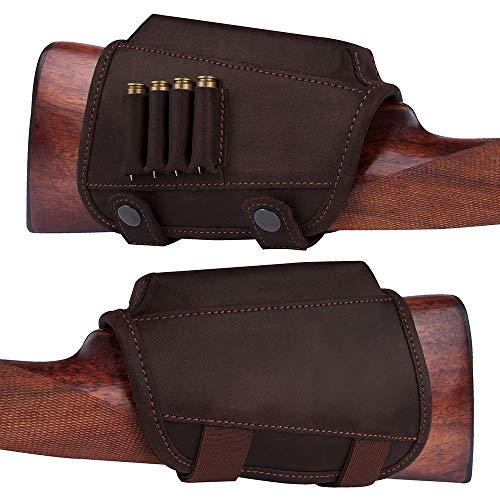- BronzeDog Buttstock Cheek Rest Ammo Holder Leather Rifle Pad Waterproof Hunting Accessories .30-30 .308 Caliber