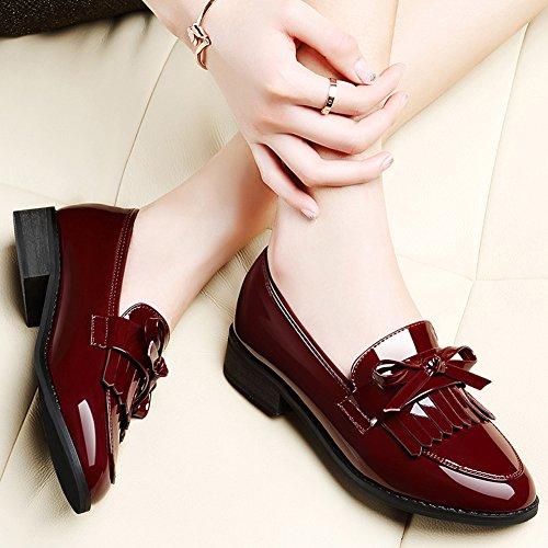 La Primavera de Estilo británico de Las Mujeres Modernas con la Borla de Charol de tacón bajo Kurzschaft Casual Zapatos Mocasines Color Granate, ...