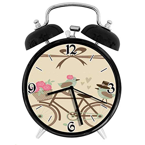 Wedding Bride and Groom Birds on The Bicycle with Basket of Romantic Rose FlowersDesk Clock Home Office Unique Decorative Alarm Ring Clock 4in