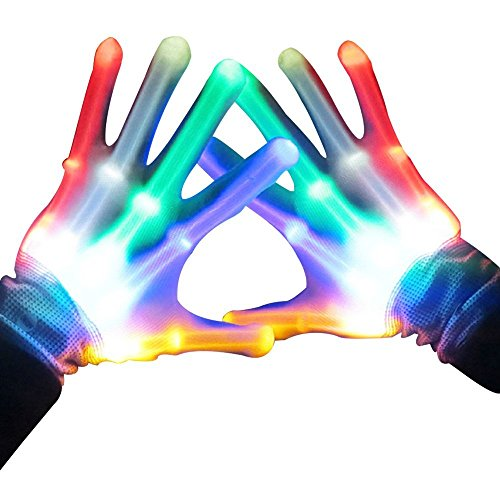 Led Skeleton Gloves, TILO 7 Color Changeable Light Up Shows Skull Changing LED Flashing Light Colorful Charming Halloween Costume Novelty Christmas Gift For Friends (7 colors)
