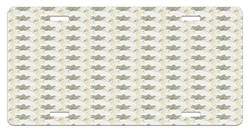 Grey and Yellow License Plate by Lunarable, Lilies Pattern Botanical Arrangement Inspirations Tenderness Flowers, High Gloss Aluminum Novelty Plate, 5.88 L X 11.88 W Inches, Pale Yellow Grey