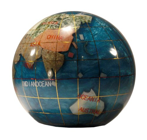 Unique Art 3-Inch Bahama Blue Pearl Swirl Ocean Gemstone World Globe Paper Weight