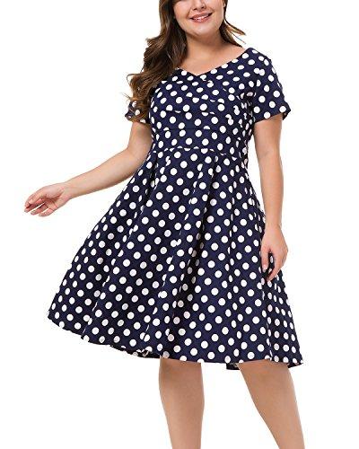 Women's Plus Size Vintage Surplice V Neck Short Sleeve Swing Party Dress Polka Dot Navy 20W - Navy Polka Dot Sundress