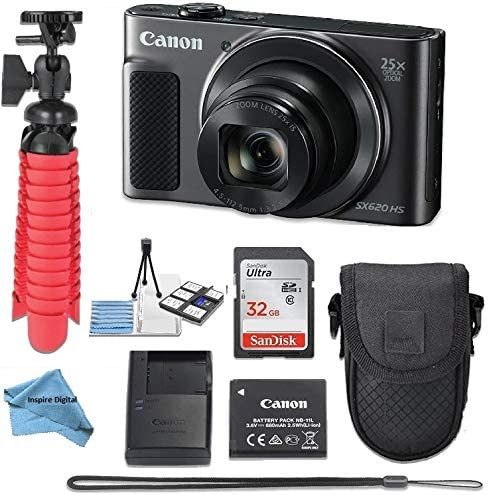 Canon Powershot SX620 (Black) Point & Shoot Digital Camera + Accessory Bundle + Inspire Digital Cloth