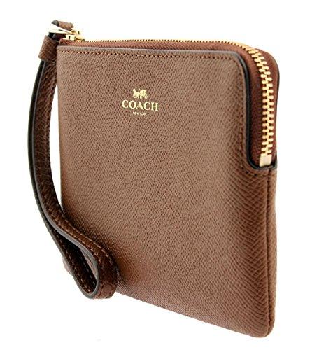 7e447875a25a COACH Corner Zip Wristlet in Crossgrain Leather in Saddle 2 ...