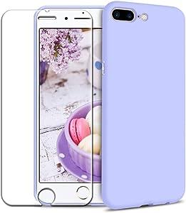 Funda iPhone 7 Plus/iPhone 8 Plus + Protector de Pantalla de Vidrio Templado, Carcasa Ultra Fino Suave Flexible Silicona Colores del Caramelo Protectora Caso Anti-rasguños Back Case - Morado Claro