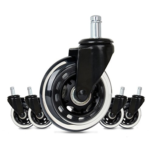 Cusfull Premium Office Chair Caster Wheels Replacement Standard Size 3-Inch Heavy Duty & Safe for Any Floor Black ABEC-7 Bearings (Set of 5) by Cusfull