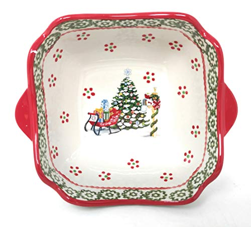 Temp-tations Holiday Scalloped Edge Bowl w/Decorative Wire Rack, Bake & Serve (1.0 Qt Holiday)
